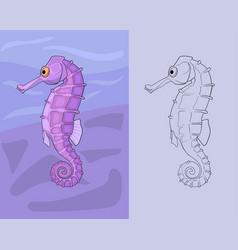 hand drawn horsefish in cartoon comic style vector image