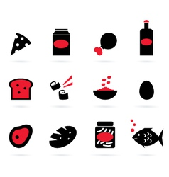retro food icons set isolated on white - black vector image vector image
