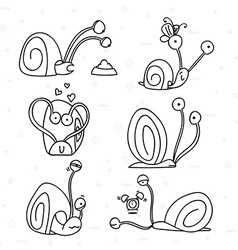 Set of 6 snails doodle handmade Snail with vector image vector image