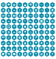 100 mountaineering icons sapphirine violet vector