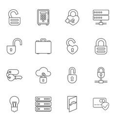 16 lock icons vector image