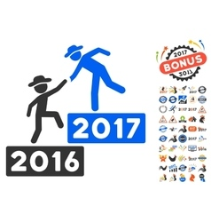 2017 Business Training Icon With 2017 Year Bonus vector image