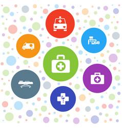 7 ambulance icons vector