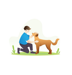 a man with his dog vector image