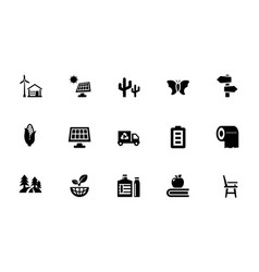 A pack of eco glyph icons vector