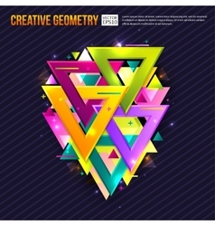 Abstract background with triangles light effects vector image