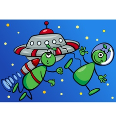 aliens in space cartoon vector image