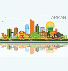 Amman jordan city skyline with color buildings vector