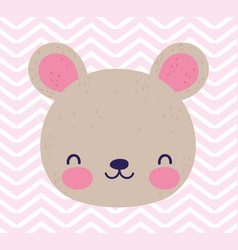 bashower love cute little teddy bear face toy vector image