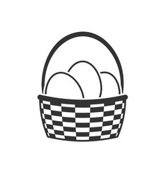 Basket with easter eggs icon vector