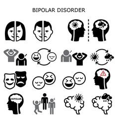 Bipolar disorder icons - mental health conc vector