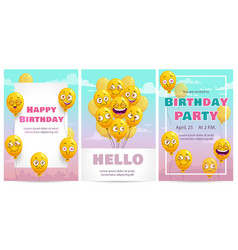 birthday greeting card templates set celebration vector image
