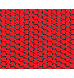 Black hexagon mesh on red background design vector