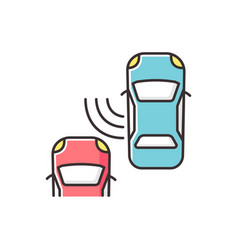 Blind spot monitoring system rgb color icon vector