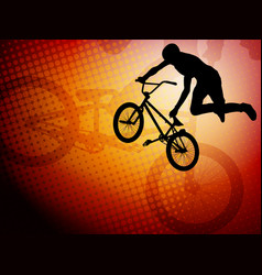 bmx stunt cyclist silhouette on the abstract vector image