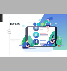 Business series - reviews web template vector