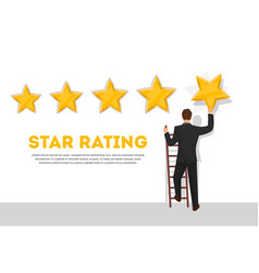 Businessman giving five star rating poster vector