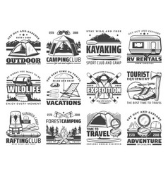 camp tent hiking boots backpack campfire icons vector image