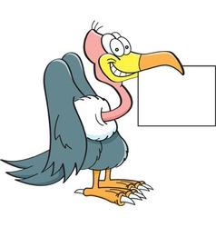 Cartoon buzzard holding a sign vector image