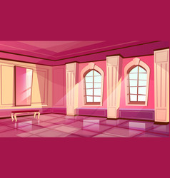 Cartoon castle palace ballroom background vector