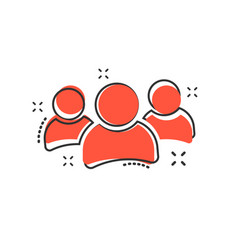 cartoon group of people icon in comic style vector image