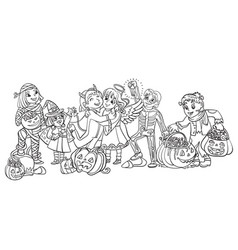 cartoon halloween children in vector image