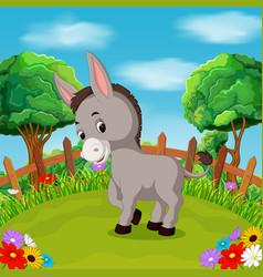 Cartoon happy donkey smile in the farm vector