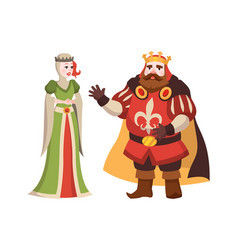cartoon king and queen fairy tales characters vector image
