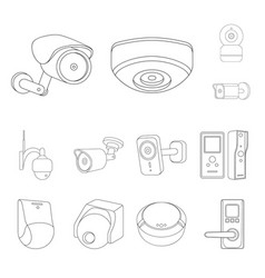 cctv and camera symbol set vector image