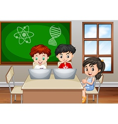 Children working in classroom vector image
