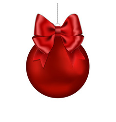christmas red ball with ribbon bow handing on stri vector image