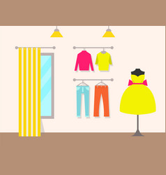 Clothing store and products vector