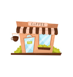coffee shop exterior in cartoon style facade of vector image