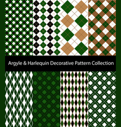 collection argyle and harlequin green patterns vector image