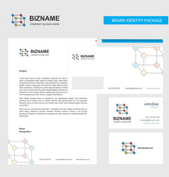 cube business letterhead envelope and visiting vector image