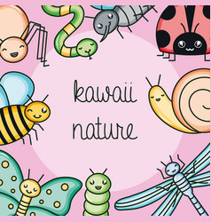 cute and little garden animals kawaii characters vector image