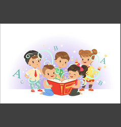 cute little kids reading fairy tales set vector image