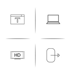 devices simple linear icon set outline icons vector image