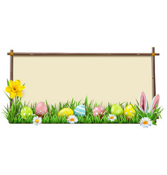 Easter wooden frame vector
