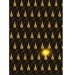 Electric bulb among switched off other in the dark vector image