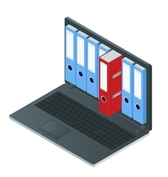 File cabinets inside the screen of laptop computer vector image
