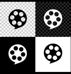 film reel icon isolated on black white and vector image