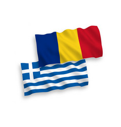 Flags greece and romania on a white background vector