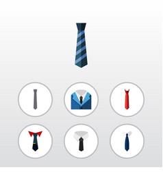 flat icon clothing set of textile necktie cravat vector image