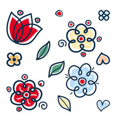 Flowers pattern with abstract scandinavian floral vector