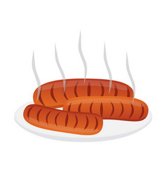 fresh sausages for barbecue on plate flat style vector image