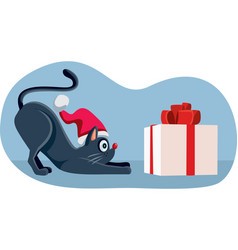 funny cat ready to open christmas present vector image