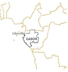 Gabon hand-drawn sketch map vector image
