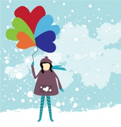 girl holding balloon vector image