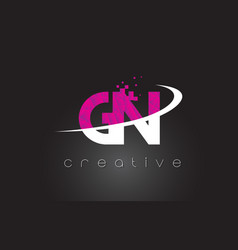 Gn g n creative letters design with white pink vector